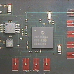 Strain gauge circuit to be embedded in fiberglass.