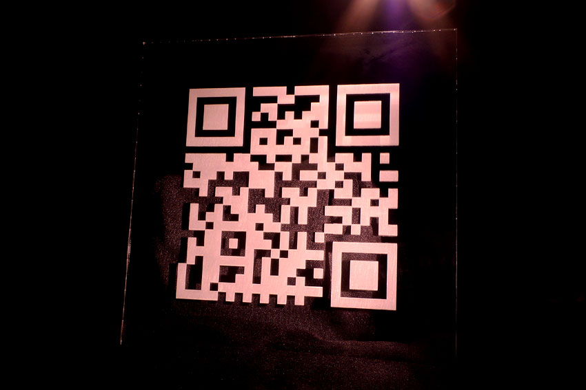 Custom marked QR code on Acrylic substrate.  Potomac is the leader in QR marking technology and has the facilities to handle projects from one part to a million.  Contact us today to discuss your next QR code application.