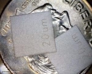 20 micron pinhole in tantalum.