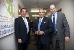Baltimore County Executive Kevin Kamenetz, UMBC President Dr. Freeman Hrabowski and Potomac Photonics President and CEO Mike Adelstein