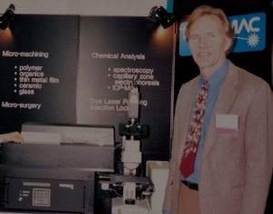 Paul Christensen demonstrating the Potomac's first excimer laser in 1987.