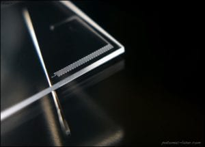 Microfluidic channels in plastic substrate.